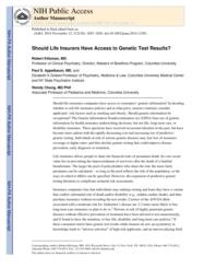 thumnail for Klitzman_Should Life Insurers Have Access to Genetic Test Results.pdf