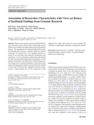 thumnail for Klitzman_Association of Researcher Characteristics with Views on Return.pdf