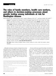 thumnail for Klitzman_The Roles of Family Members, Health Care Workers, and Others in Decision-Making Processes About Genetic Testing Among Individuals at Risk for HD.pdf