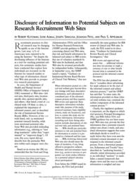 thumnail for Klitzman_Disclosure of Information to Potential Subjects on Research Recruitment Web Sites.pdf