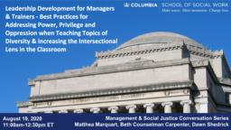 thumnail for Management & Social Justice Conversation Series_Marquart_Counselman Carpenter_Shedrick_8-19-20.pdf