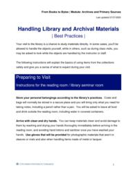thumnail for Handling Library and Archival Materials_ Best Practices.pdf