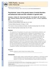 thumnail for Klitzman_Psychiatrists_ Views of the Genetic Bases of Mental Disorders and Behavioral Traits and Their Use of Genetic Tests.pdf