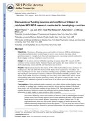 thumnail for Klitzman_Disclosures of Funding Sources and Conflicts of Interest in Published HIV-AIDS Research Conducted in Developing Countries.pdf