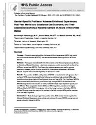 thumnail for Cavanaugh_Gender-specific profiles of adverse childhood experiences, past year mental and substance use disorders, and their associations among a national sample of adults in the United States..pdf