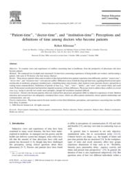 thumnail for Klitzman_Patient-time_doctor-time and institution-time.pdf