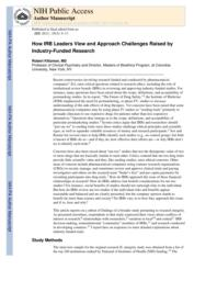 thumnail for Klitzman_How IRB Leaders View and Approach Challenges Raised by Industry-Funded Research.pdf
