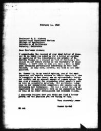 Letter from Gunnar Myrdal to C.L. Alsberg, February 14, 1940