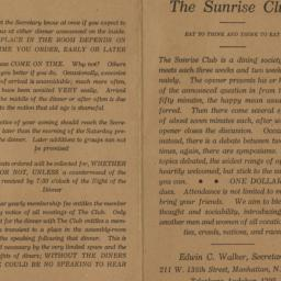 Sunrise Club Dining Society...