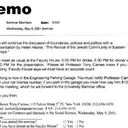 Announcements, 2001-05-09. ...