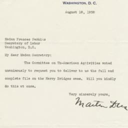 Letter from Martin Dies, Ch...
