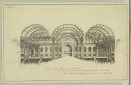 Perspective Sketch of Interior of Westerly Train House Looking Toward Concourse, New York Passenger Station for P.N.Y. & L.I.R.R.