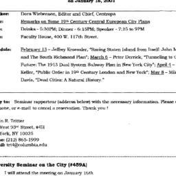Announcements, 2001-01-16. ...