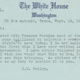 Bailey telegram to Presiden...