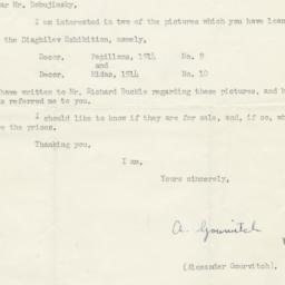 Typed letter from Alexander...
