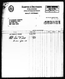 Royalty statement from Harper & Brothers to Richard Sterner for THE NEGRO'S SHARE, March 30, 1944