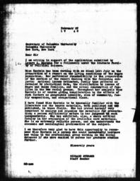 Letter from Richard Sterner to Secretary of Columbia University, February 27, 1940