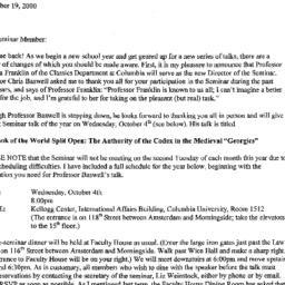 Announcements, 2000-10-04. ...