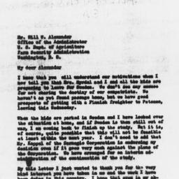 Letter from Gunnar Myrdal A...