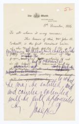 Draft Letter of Introduction, with Autograph Corrections, Signed, for John A. Cockerill