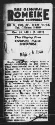 Article about St. Clair Drake and Horace R. Cayton's BLACK METROPOLIS mentioning AN AMERICAN DILEMMA, RIVERSIDE ENTERPRISE, March 4, 1946