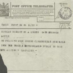 """Telegram from """"Diaghileur"""" ..."""