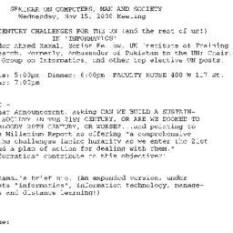 Announcements, 2000-11-15. ...