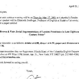Announcements, 2001-05-17. ...