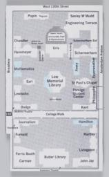 Campus map with blue shading indicating which buildings were occupied by protesting students