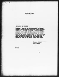 Letter of recommendation from Richard Sterner for Elwood Chisholm, August 28, 1940