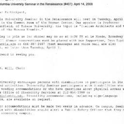 Announcements, 2009-04-14. ...