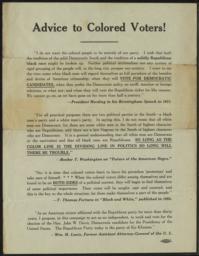 Advice to Colored Voters, circa 1924 : broadside