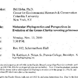 Announcements, 2000-11-13. ...