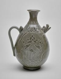 Ewer with a Boar-Head Spout and Design Depicting Lotus Plants and Flowers, Side view 2