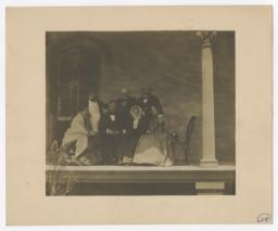 Four Men and Three Women on Porch
