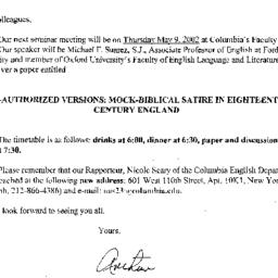 Announcements, 2002-05-09. ...