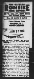 Review of Richard Sterner's THE NEGRO'S SHARE, RALEIGH NEWS-OBSERVER, June 27, 1943