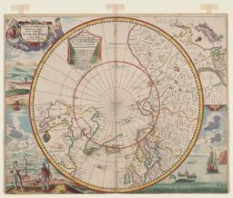Mapp of Regions and Countreyes Under and About the North Pole