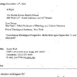 Announcements, 2001-12-11. ...
