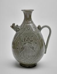 Ewer with a Boar-Head Spout and Design Depicting Lotus Plants and Flowers, Side view 1