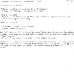 Announcements, 2009-04-06. ...