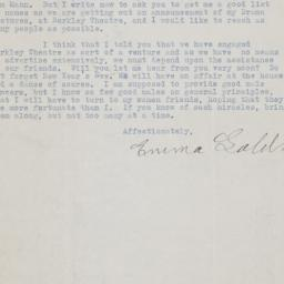 Letter from Emma Goldman to...