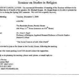 Announcements, 2000-12-05. ...