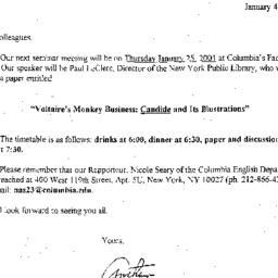 Announcements, 2001-01-25. ...