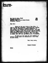 Letter from Richard Sterner to Paul W. Kear, May 29, 1942