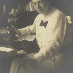 Frances Perkins with telephone