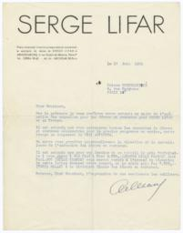 Letter from Serge Lifar to Prince Chervachidzé
