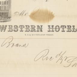 Western Hotel. Bill or receipt