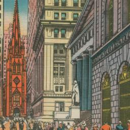 Wall Street Showing Trinity...