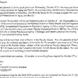 Announcements, 2003-10-08. ...